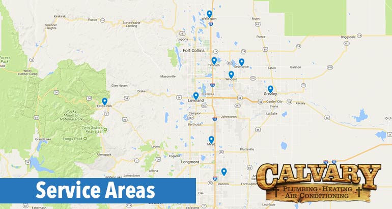 calvary plumbing, heating and air conditioning service area
